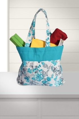 Printed Cotton Vibrant Color Shopping Bag In Blue/white - Swayam