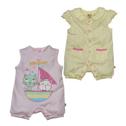 Pink And Yellow Romper Pack Of 2 - FS Mini Klub