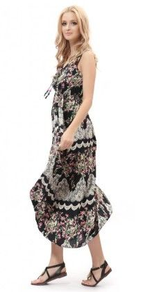 Strap Sleeveless Floral Printed Summer Beach Bohemian Sundress-black - Dilanni