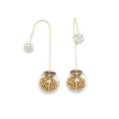 Gold Beads Needle Drop Earrings - Miss Flurrty