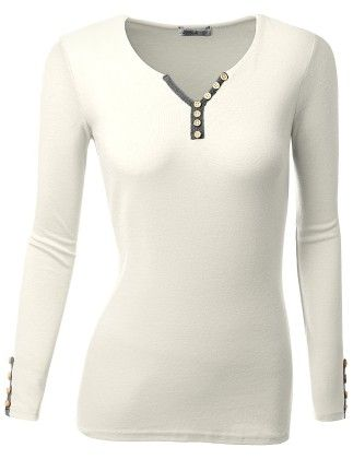 Long Sleeve Trim Color Point Henley Neck T-shirts - White - Doublju