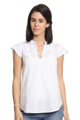Women White Top With Cap Sleeves - Cotton World