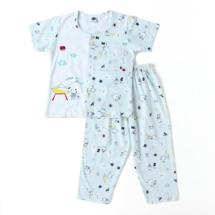Boys Little Printed Pyjama Set - Blue - Teddy