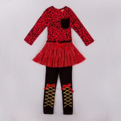 Red Animal Print Long Sleeve Top With Skirted Leggings - Mia Belle Baby