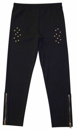 Black Leggings With Studs And Side Zippers - Dedo Kids