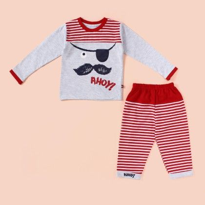 Mustache Printed Pyjama Set - Red - Mini Taurus