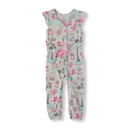 Short Sleeve Paris Print Jumpsuit - The Children's Place