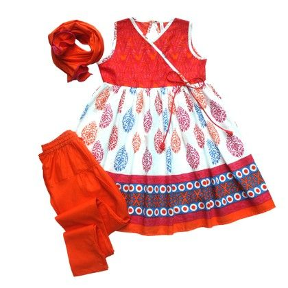 Girls Angrakha-pyjami Suit Set - Multicolour Block Print - Campana