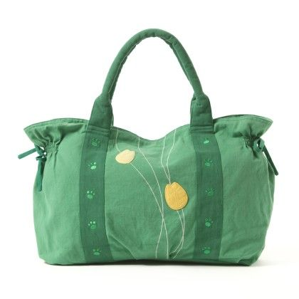 Oyster Kids Hand Bag In Green With Tulips Design - Oysterkids