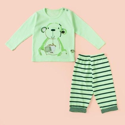 Monkey Printed Full Sleeves Pyjama Set - Pista - Mini Taurus