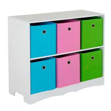 Kids Storage Shelf With 6 Bins - HDS