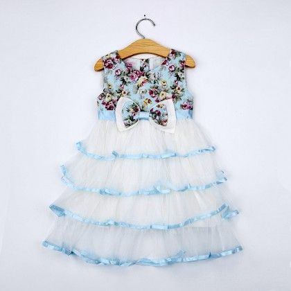 Multi Floral Print Bow With Frills Party Dress - Emma
