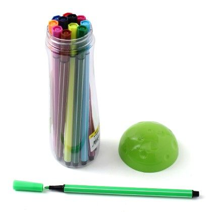 Mushroom Case - Set Of 12 Coloured Pens  - Green - Happy Gifts