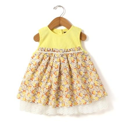 Yellow Printed Dress With Lace At Bottom And Empire Seam - Hugs & Tugs