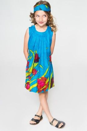 Aqua Rose Pleated Swing Dress & Headband - Toddler & Girls - Yo Baby