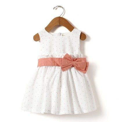 White Star Print Dress With Pink Belt And  Bow At Waist - Hugs & Tugs