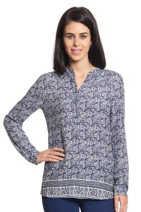 Women Navy Printed Top - Cotton World