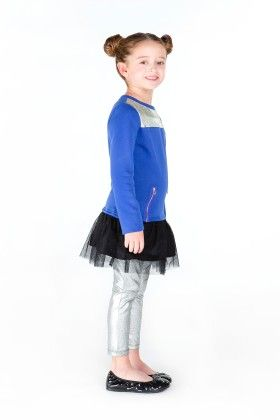 Fleece Sweatshirt Dress With Tulle Hangdown, Yoke Piecing,blue - Dedo Kids