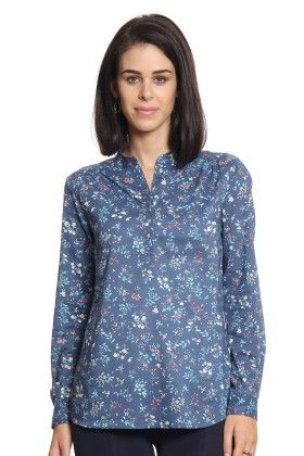 Women Blue Printed Top - Cotton World