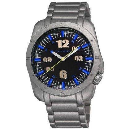 Vernier Men's Round Cobalt Blue Dial Matt Silver Bracelet Watch - Vernier Watches