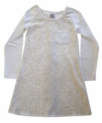 Raglan Tunic With Left Chest Pocket And Back Vent,lace Overlay Front,off-white & Gold - Dedo Kids