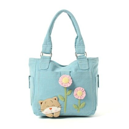 Oyster Kids Hand Bag In Blue - Cute Cat & Flowers - Oysterkids