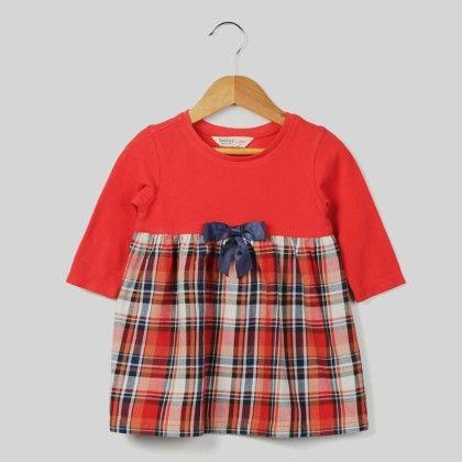 Bow Check Dress Red Check - Beebay