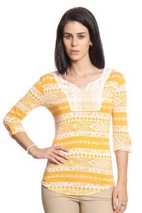 Women Orange T-shirt With Lace Yoke - Cotton World