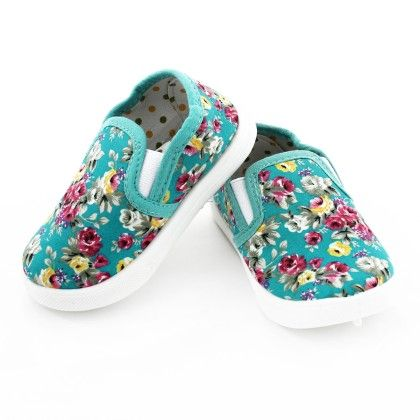Floral Printed Canvas Slip Ons  -turquise - S&S
