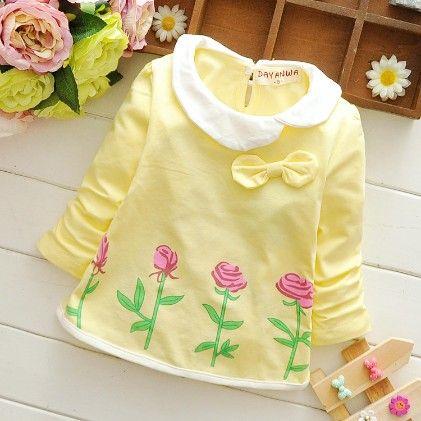 Yellow Floral Print Round Collar Dress - Mellow