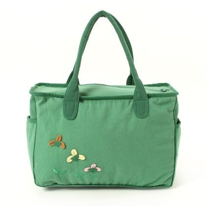Oysterkids Hand Bag In Green With 3 Flowers