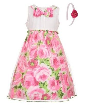 Pink Dreams Party Dress With Headband-pink - BownBee