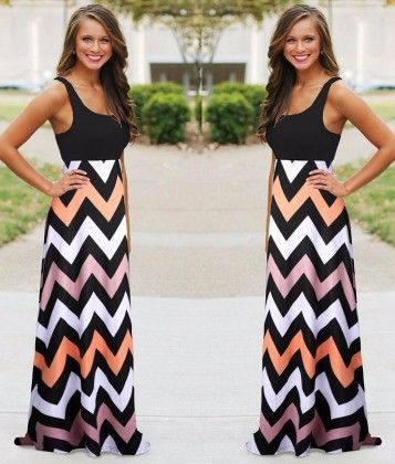 Colorful Sleeveless Wave Striped Full Length Summer Bohemia Beach Dress - KUFV