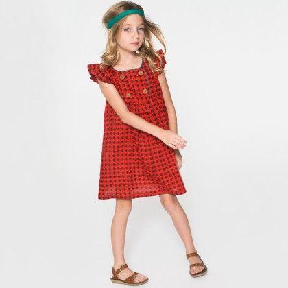 Orange Geometric Double-breasted Dress - Toddler & Girls - Yo Baby