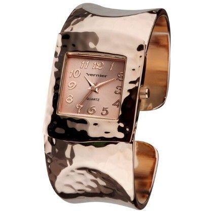 Vernier Women's Fashion Rose Gold Tone Hammered Bangle Watch - Vernier Watches