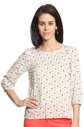 Women Beige Printed Top - Cotton World