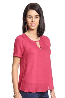 Women Pink Top With Back Slit - Cotton World
