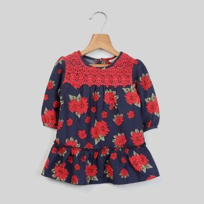Navy Floral Print Dress Navy - Beebay
