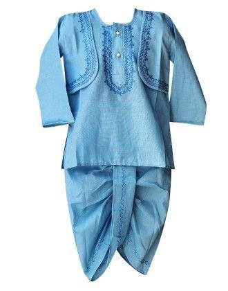 Kurta Dhoti Set - Blue - BownBee
