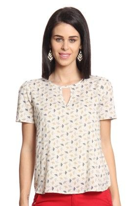 Women Beige Printed Top With Back Slit - Cotton World