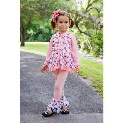 Pink/black Blouse With 2 Layers Of Ruffles & Ruffled Leggings - Mia Belle Baby