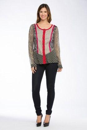 Knit Mixed-media Novelty L/s Jacket - Grey Multi - Kaktus