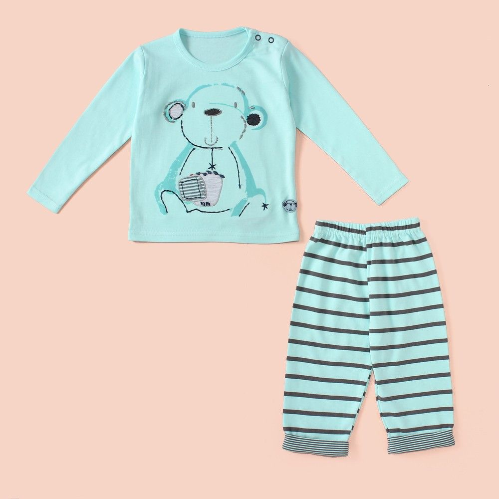 Monkey Printed Full Sleeves Pyjama Set - Blue - Mini Taurus