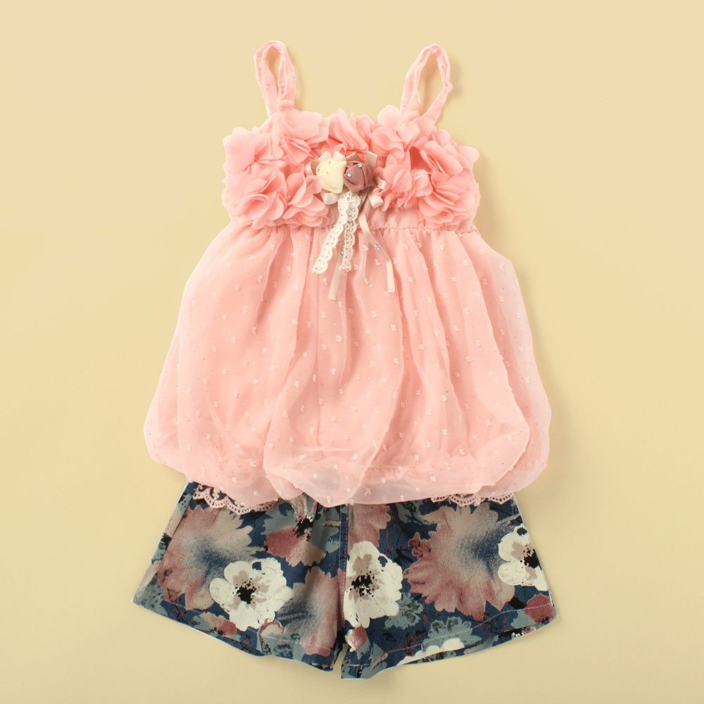 Pink Top With Printed Shorts - Lil Mantra