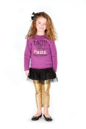 Fleece Sweatshirt Dress With Tulle Hangdown & Graphic - Dedo Kids