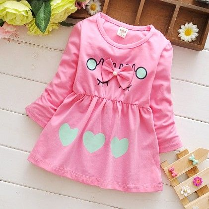 Cute Love Print Pink Bow Applique Dress - Mellow