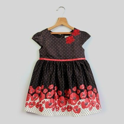 Flower Printed Dress Black Print - Infant - Beebay