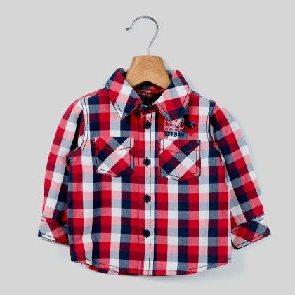 Red/navy Check Shirt Red Check - Infant - Beebay