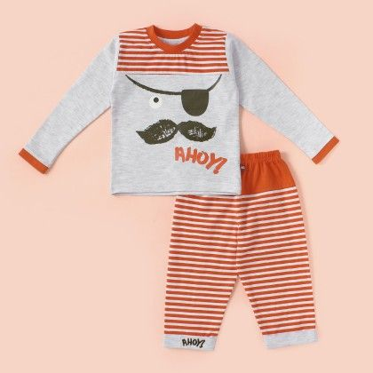 Mustache Printed Pyjama Set - Orange - Mini Taurus