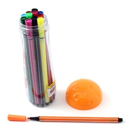 Mushroom Case - Set Of 12 Coloured Pens  - Orange - Happy Gifts